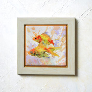 Gold Fishes - Hand Painted Ceramic Tile Wall Art - Painting  watercolour - Home Decor -  10x10 cm., - SobolevaArt valentine day