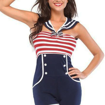 Red and Dark Blue Striped High-Waisted Buttoned Mini Jumpsuit Sailor Costume