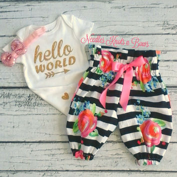 "Newborn Girls Coming Home Outfit, Baby Girls ""Hello World"" Take Home Outfit, Baby Shower Gift Set"