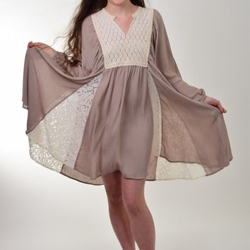 Umgee Latte Lace Peasant Assymetrical Babydoll Dress