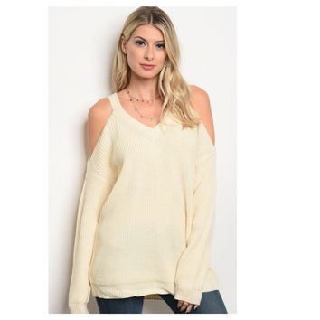 Cozy Ivory Cold Shoulder Thick Sweater