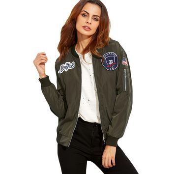 Army Green Embroidered Patch Zipper Stand Collar Coat Women Fashion Long Sleeve Bomber Jacket