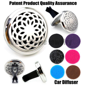 Silver Lotus (38mm) Magnet Diffuser Car Aroma Locket Free Pads Essential Oil 316 Stainless Steel Car Diffuser Lockets