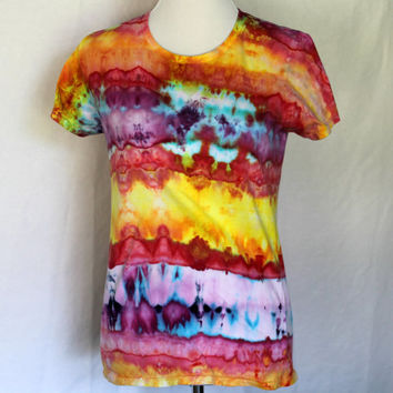 Womens Tie Dye Shirt in Red, Purple, and Yellow, Tie Dye WomensT-Shirt Size Medium, Size M