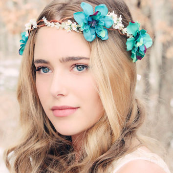 Delphinium hair crown, woodland flower, bridal hair flower, rustic wedding, teal flower hair crown, Delphinium flower crown