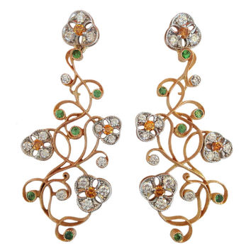 Dalben Tsavorite Diamond Two Color Gold Floral Chandelier Earrings