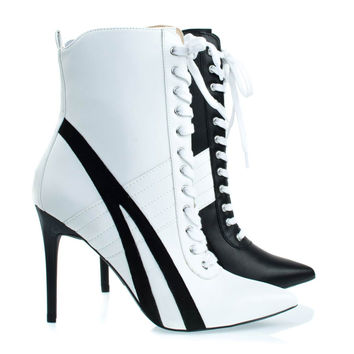 Akira142 White By Wild Diva, Lace Up High Heel Sneaker Above Ankle Bootie, Color Block & Pointed Toe