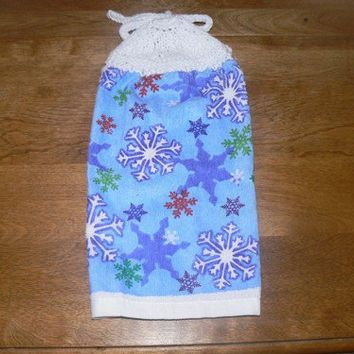Hanging Snowflake Kitchen Towel With Hand Knit Topper and Ties
