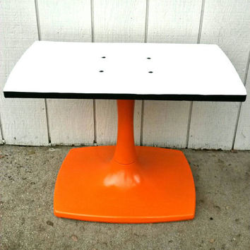 TV Stand Console Television Vintage Orange White Tulip Base Swivel Entertainment Center Media Saarinen Table Coffee Table Mid Century Modern