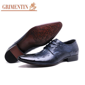 Italian fashion mens genuine leather shoes sales bule pointed toe business office blue designer male shoes men