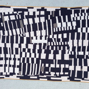 Littleneck throw quilt | black and white handmade hand-sewn improv modern quilt