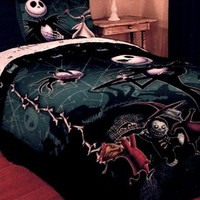 The Nightmare Before Christmas Full / Queen Comforter with Jack Skellington Zero Lock Shock and Barrel