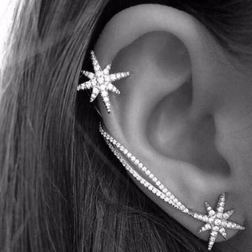Fashion Women Punk Gothic Snowflake Rhinestone Clip Ear Cuff Wrap Stud Earrings
