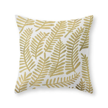 Society6 Gold Fronds Throw Pillow