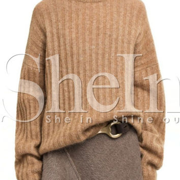 Camel Long Sleeve Pullover Sweater