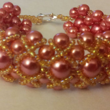 Beaded Jewelry Bracelet Red and Amber Pearls by BeadingWonders