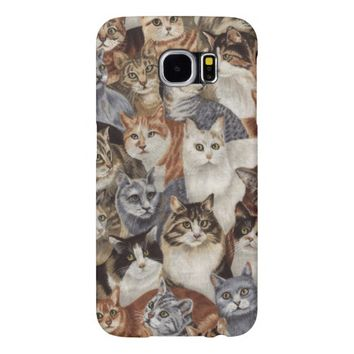 Vintage Whimsical Cat Pattern Samsung Galaxy S6 Cases