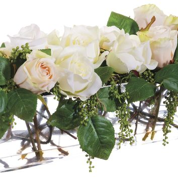 Lifelike Pink & White Roses Floral Arrangement in Clear Glass Vase