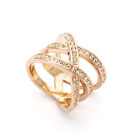 Rose Gold Plated Crystal Ring High Quality Women Jewelry Fashion