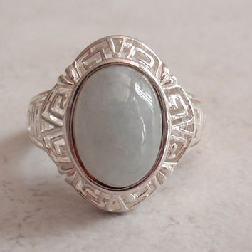 Jade Ring in Sterling Silver Greek Key Design Size 7 3/4 Vintage