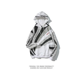 Hoodies Embroidery Sports Stripes Print Thicken Couple Hats [350390026276]