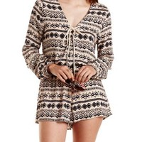 Taupe Combo Geometric Print Tie-Front Romper by Charlotte Russe