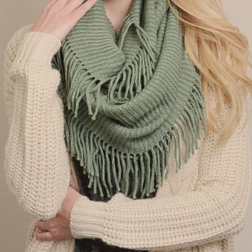 Mint Ribbed Infinity with Fringe Scarf