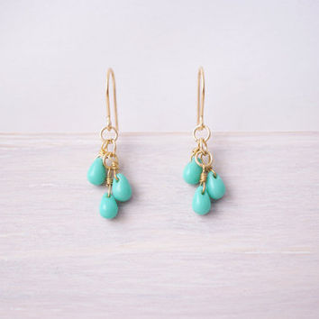 Turquoise Glass Cluster Earrings - 14k Gold Filled French Hooks