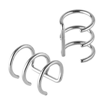 Charisma Stainless Steel Non-Pierced Clip On Earrings Fake Ear Cartilage Cuff Wrap Ear Ring 2 Pcs