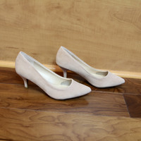 """Denty"" Suede Low Heel Classic Pumps - Nude"