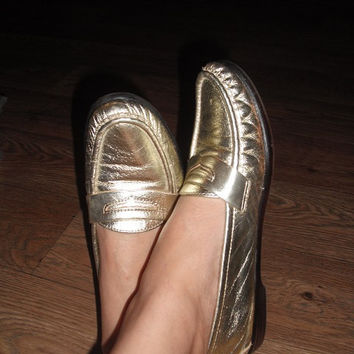 vintage GOLD SAS Comfort Shoes Penny Loafers Moccasins Women's 9