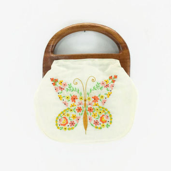 Vintage Embroidered Butterfly Purse, Wood Handles, Boho Handbag, 60s 70s Fashion, Gold, Yellow, Green, Orange, Pink, Brown, Beige, Cream