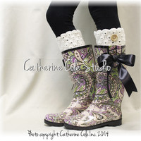 GYPSY Pink Purple paisley rainboots  black satin bow wellies muck boots womens rain boots wellingtons, fashion Catherine Cole Studio RB3