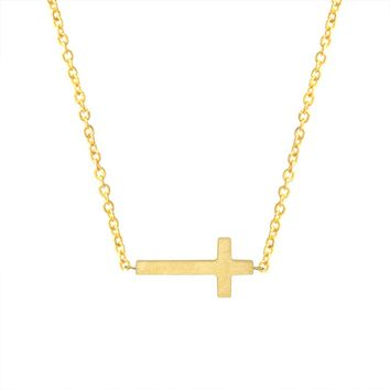 Women's Stainless Steel Cross Necklace - Gold or Silver
