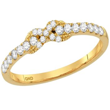 10kt Yellow Gold Womens Round Diamond Infinity Knot Stackable Band Ring 1/4 Cttw