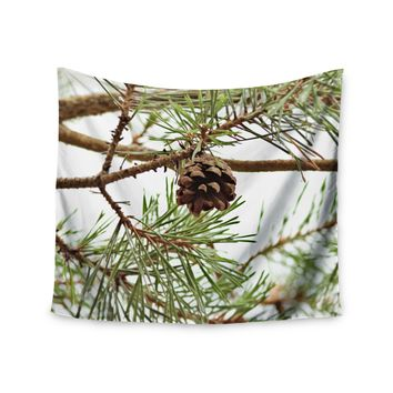 "Sylvia Coomes ""Pinecone"" Green Brown Wall Tapestry - Outlet Item"