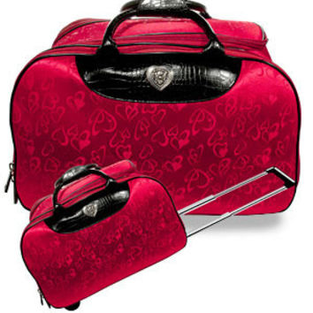 RED Heart Rolling Duffle Travel Bag -- Not Brighton, Just Inspired
