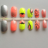 Coral Cheetah, Neon Yellow Glitter False, Artificial, Acrylic
