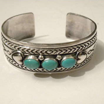 Vintage Reeves Stamped Sterling Silver Cuff bracelet Turquoise bead, Navajo Jewelry RARE South West