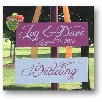 Custom Wedding Directional Sign, 2 Signs, with ribbon or stake