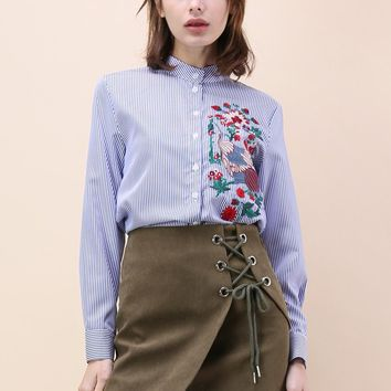 Sprightly Crane Embroidered Shirt in Blue Stripes