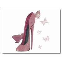 Sparkle Pink Stiletto and Butterfly's Art Postcard