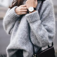 Grey V-neck Long Sleeve Casual Oversize Pullover Sweater