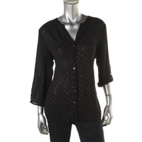 JM Collection Womens Embellished Pleated Button-Down Top