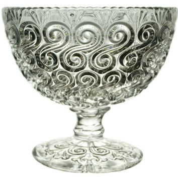 Pressed Glass Serving Stem Bowl with Scroll Decorations, Antique English Victorian, 19th Century
