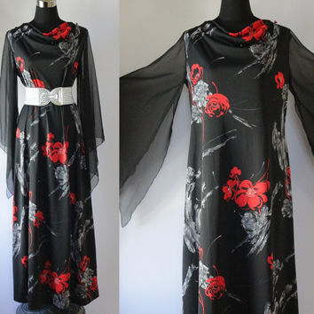 Vintage Dress 70s Angel Sleeve floral Poppy print flutter MAXI Dress boho kimono Gown Black Dress Chiffon