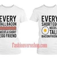 bacon and egg BFF Couple T-Shirt women