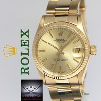 Rolex Datejust 18k Yellow Gold Champagne Dial Midsize Ladies Watch 6827