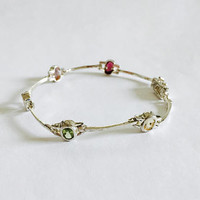 "Vintage Sterling Silver 7"" Line Link Bracelet with Bezel Set Multi Colored Gemstones, Pale Multi Colored Gemstones"