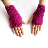 Hand Knit Fingerless Gloves in Magenta - Arm Warmers - Womens Seamless Knit Gloves - Winter Fashion